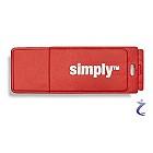 Simply 8 GB USB 2.0 Speicherstick mit Kappe 8GB rot