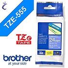 Brother P-touch Schriftband TZe555 TZe-555 24mm weiß blau TZ-555