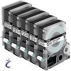5x Epson LC-4WBN9 LabelWorks 12mm Bandetiketten schwarz auf weiß