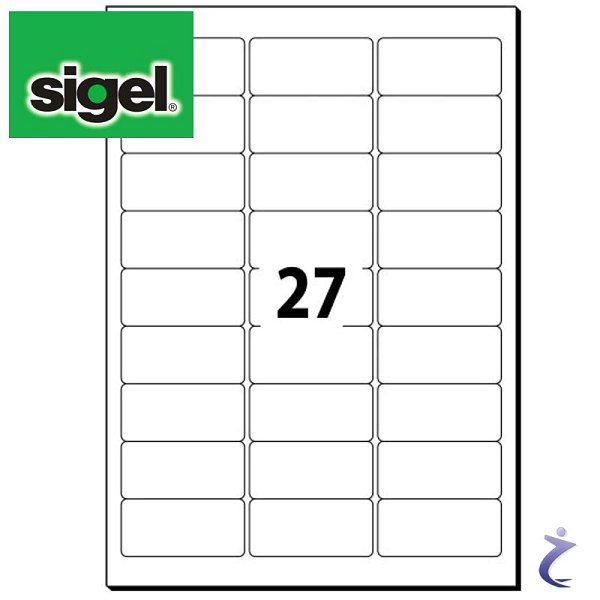 Sigel 63,5x29,6 mm Etiketten weiß wiederablösbar 25 Blatt LA210 675
