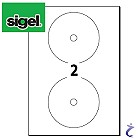 Sigel LA505 CD-/DVD-Etiketten weiß permanent 25 Blatt 50 Labels