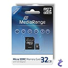 MediaRange 32GB Micro SDHC Flash Speicherkarte Class 6 + Adapter MR954