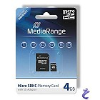 MediaRange 4GB Micro SDHC Flash Speicherkarte Class 4 + Adapter MR951