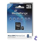 MediaRange 8GB Micro SDHC Flash Speicherkarte Class 4 + Adapter MR952
