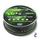 MediaRange DVD-R 4,7GB 16x Cake 25 Stk MR403 DVD Rohlinge auf Spindel
