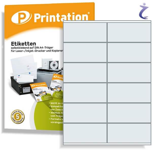 Printation Etiketten 105 x 48 weiß  120 Aufkleber 105x48 bedruckbar A4