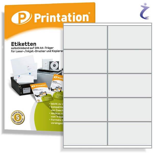 Printation Etiketten 105 x 57 weiß  100 Aufkleber 105x57 bedruckbar A4