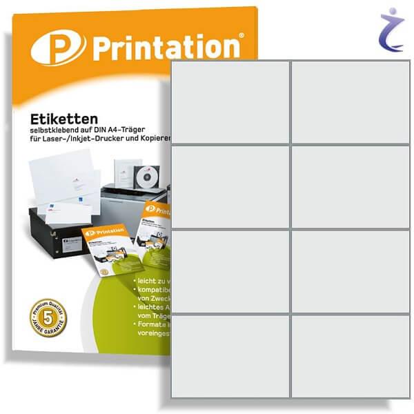 Printation Etiketten 105 x 74 weiß  80 Aufkleber 105x74 bedruckbar A4