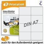 Wetterfeste Folien-Etiketten 105 x 74 mm transparent bedruckbar DIN A4
