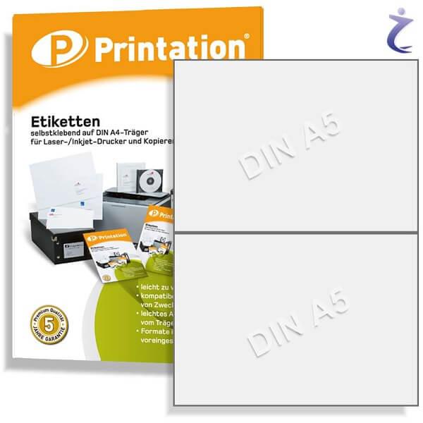 Printation Etiketten 210 x 148,5 mm weiß  20 DHL Paketaufkleber 210x148 A5 auf A