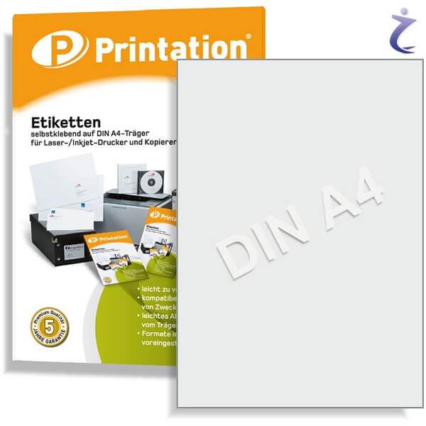 Printation Etiketten 210 x 297 weiß 10 A4 Aufkleber 210x297 bedruckbar