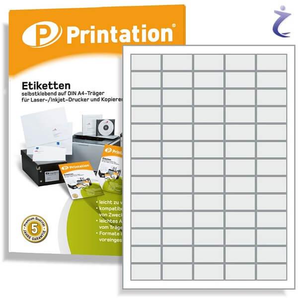 Printation Etiketten 38,1 x 21,2 weiß  650 Aufkleber 38,1x21,2 auf A4