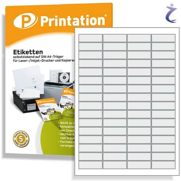 Printation Etiketten 48,5 x 16,9 mm 640 Aufkleber 48,5x16,9 bedruckbar