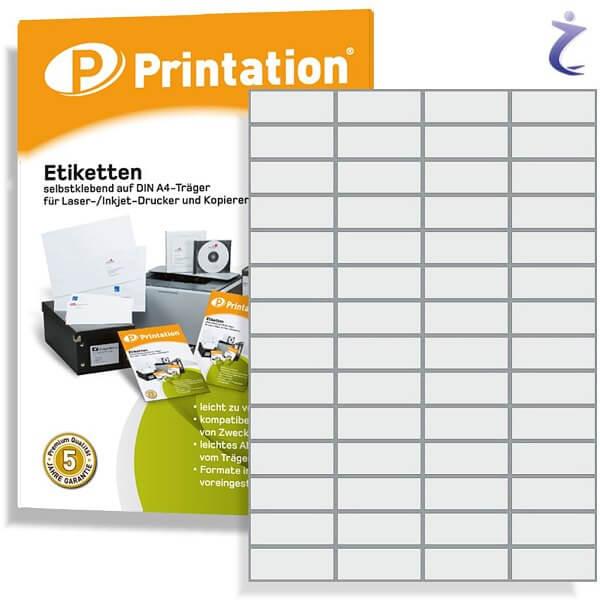 Printation Etiketten 52,5 x 21,2 mm weiß - 560 Aufkleber 52,5x21,2 A4