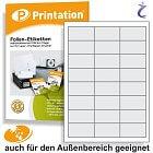 Wetterfeste Folien-Etiketten 63,5 x 33,9 mm transparent bedruckbar A4