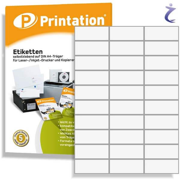 Printation Etiketten 70 x 29,7 weiß - 300 Aufkleber 70x29,7 bedruckbar