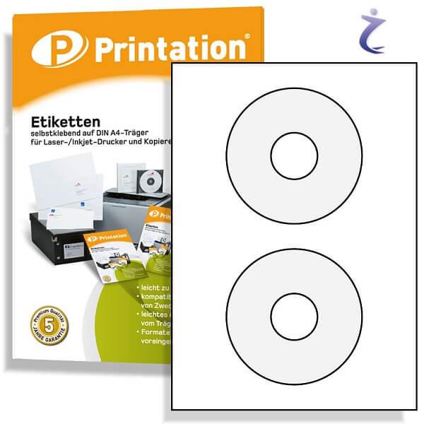 CD DVD Etiketten weiß 41mm Kerndurchmesser 10 Blatt 20 Aufkleber
